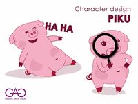 Piku - Lazy Pig Sticker Design