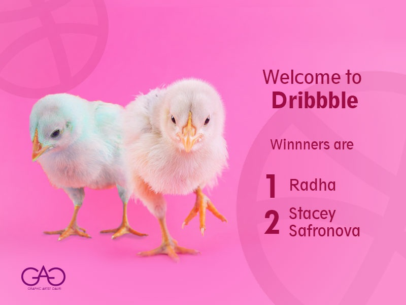 Dribble invite goes to Radha & Stacey, Welcome to Dribbble winners welcome welcome shot dribbble invite dribbble sticker design concept art creative adobe photoshop