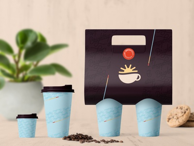 Brightcup Cafe - Paper cups and cup holder branding packaging design cafe coffee packaging brand identity coffee cup