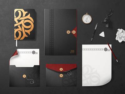 Ink City Collateral envelope notebook folder letterhead colours tattoo pattern branding brand identity