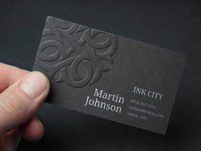Business card for Ink City Tattoo black business card logo brand identity brading embossed business card