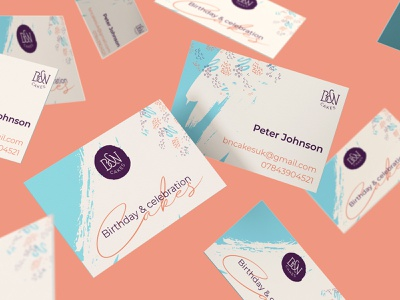 B&N Cakes Business Cards band identity logo designer uk logo design cake logo brand identity designer business card design cake shop business cards