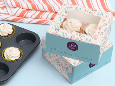 B&N Cakes Cupcake Box Design cake shop branding brand identity design pattern cupcake box design packaging design