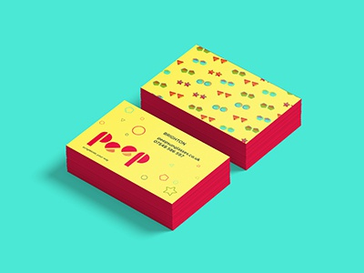 Bussines cards for Peep Sunglasses bussines cards colours shapes summer vibes peep sunglasses logo brand identity