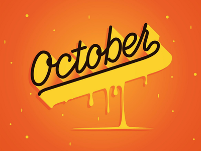 Hello October 🍁 digital monoline autumn lettering october