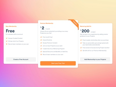 Pricing Tables - Youth Social Network tables pricing pricing plans pricing table ui website design website design