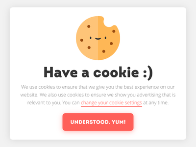 Hello Dribbble! Have a cookie :) popup call to action settings website illustration window modal notification policy cookie