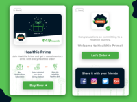 Healthie Prime Subscription card UI