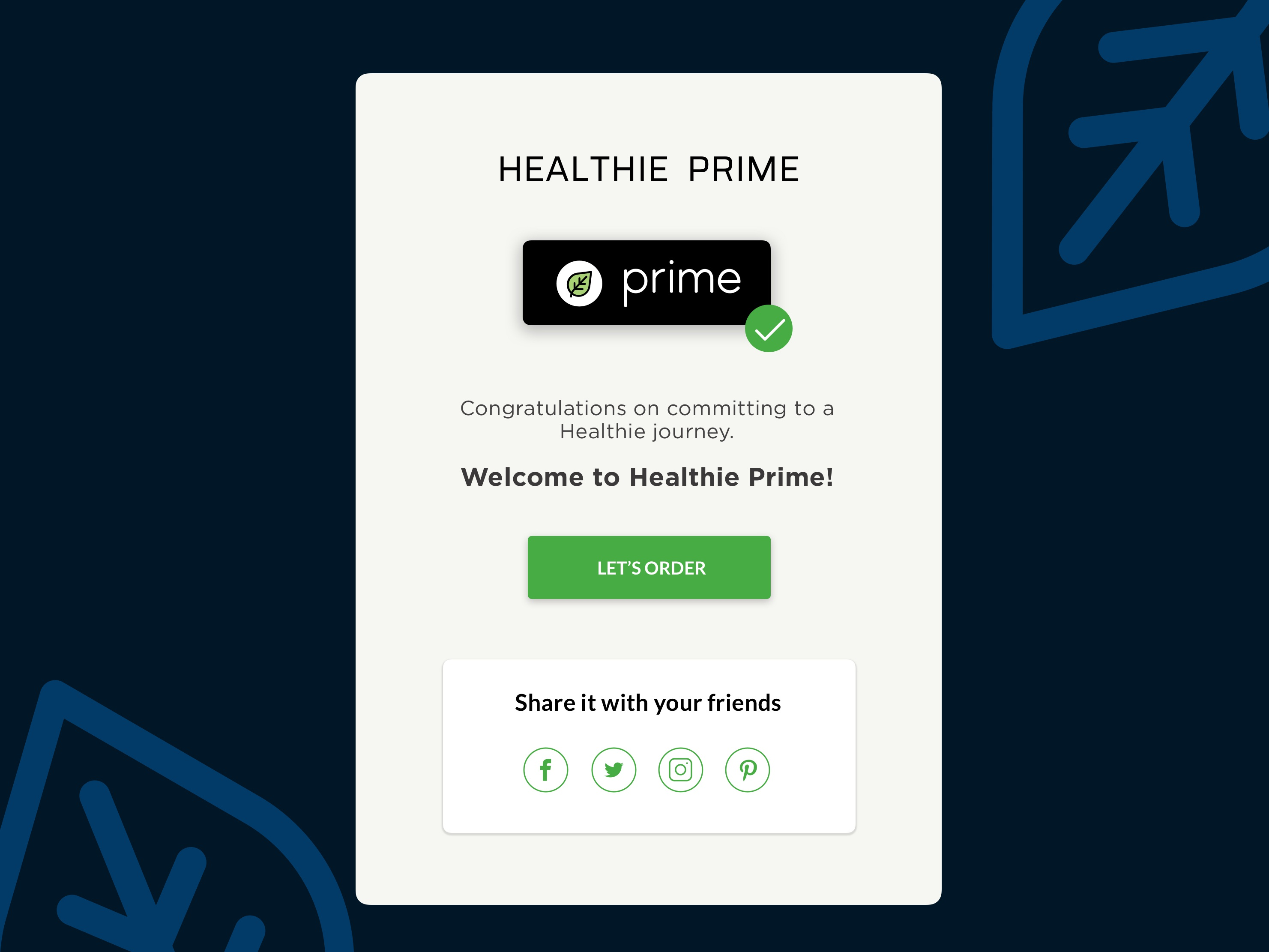 Healthie subscription successful pop up