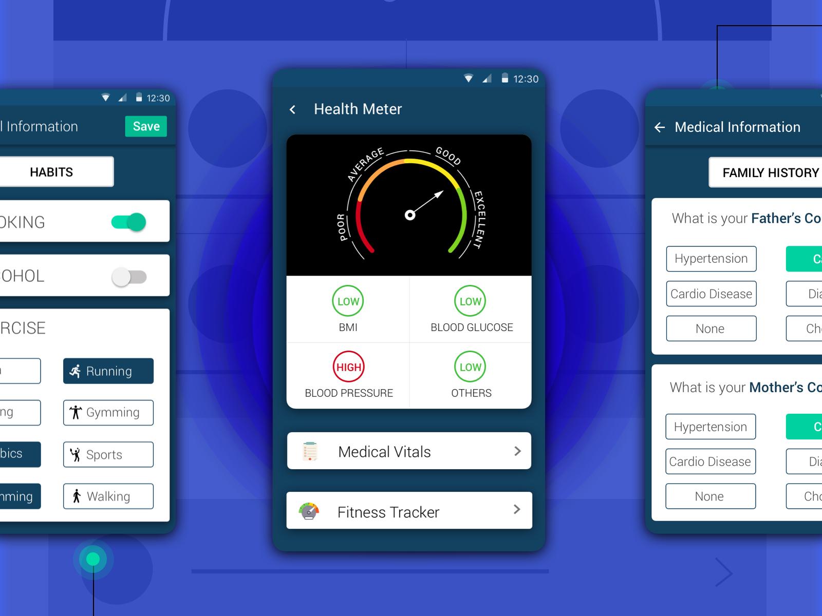 Dbotica health tracker screen