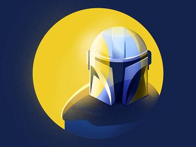 Mando geek star wars sci-fi disney mandalorian starwars minimal yellow blue character art vector gradient flat design illustration