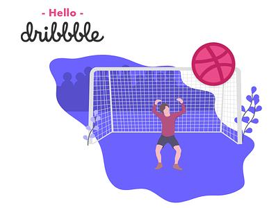 Hello, Dribbble! first shot hello football dribbble debut
