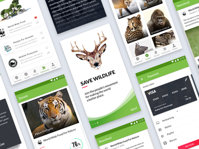 Wildlife Aid - Android App mobile app ui design adobe xd photoshop donation wildlife android android app ux ui