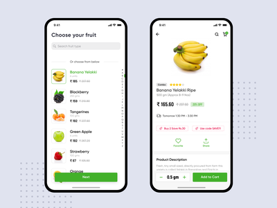 Fruit buying App product app mobile design product listing product page ios adobe xd ui