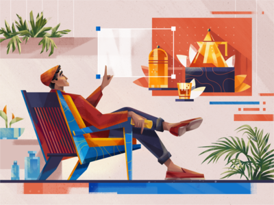 Content Creator fireart glass still life chair man character design character plants home creator content