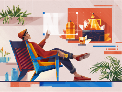 Content Creator fireart glass still life chair man character design character plants home creator content