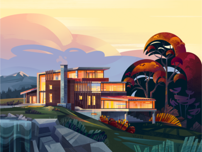 A House in the Mountains fireart clouds trees mountains waterfall nature landscape home architecture house illustration affinity designer