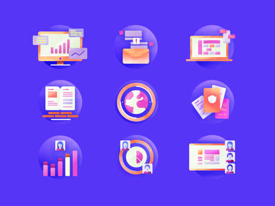 Icon Set graphic design color set icons