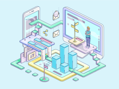Difficulty in using different marketing tools marketing illustration isometric blog