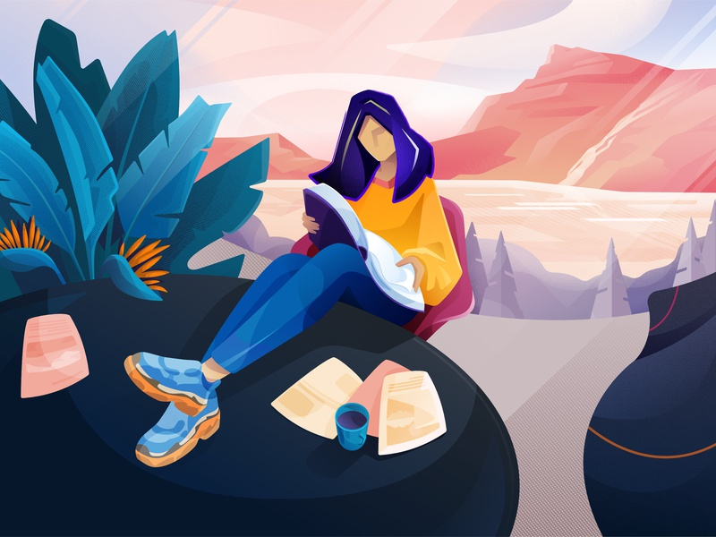 Doors to our fantasy sneakers chair read cup fireart plants landscape book affinity designer illustration