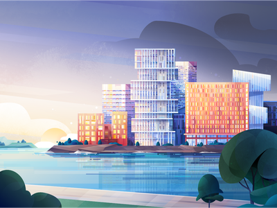 New Dawn affinity designer modern window trees sky dawn springtime illustration landscape city architecture