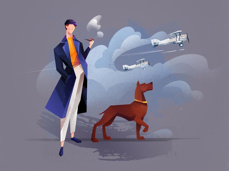 Human Planet smoking pipe illustration affinity designer cloud dog character plane
