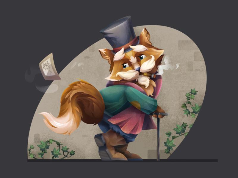 Warm Feelings cigar character illustration photo ivy hat cat affinity designer