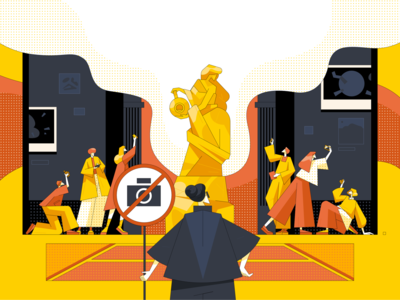 Don't take a photo pictures rules worker character museums illustration art camera photographer photo tourist museum affinity designer sculpture