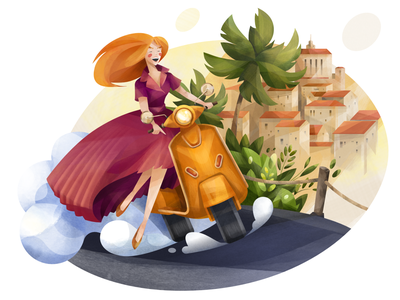 Journey affinity designer city old town palm tree vespa motorbike scooter travel vacation adventure trip journey summertime