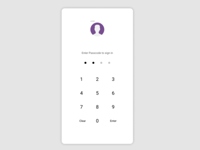 Passcode screen for app
