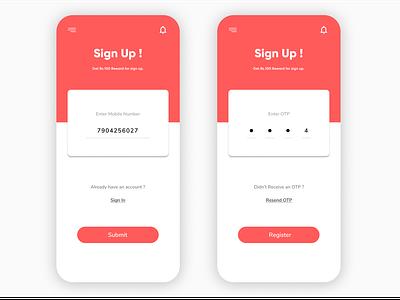Sign Up signin signup otp register card uidesign ui mobile figmadesign figma
