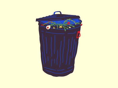 Trash Can Flowers floral garbage art illustration flowers trash