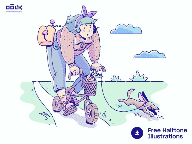 Free Halftone Illustrations 01 freebie free carrots outside biking bike girl dog photoshop oblik studio oblik halftone illustration drawing