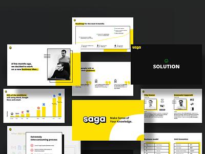 Saga Pitch Deck visual identity yellow branding graphic design pitch deck design notes tool saga presentation oblik studio oblik