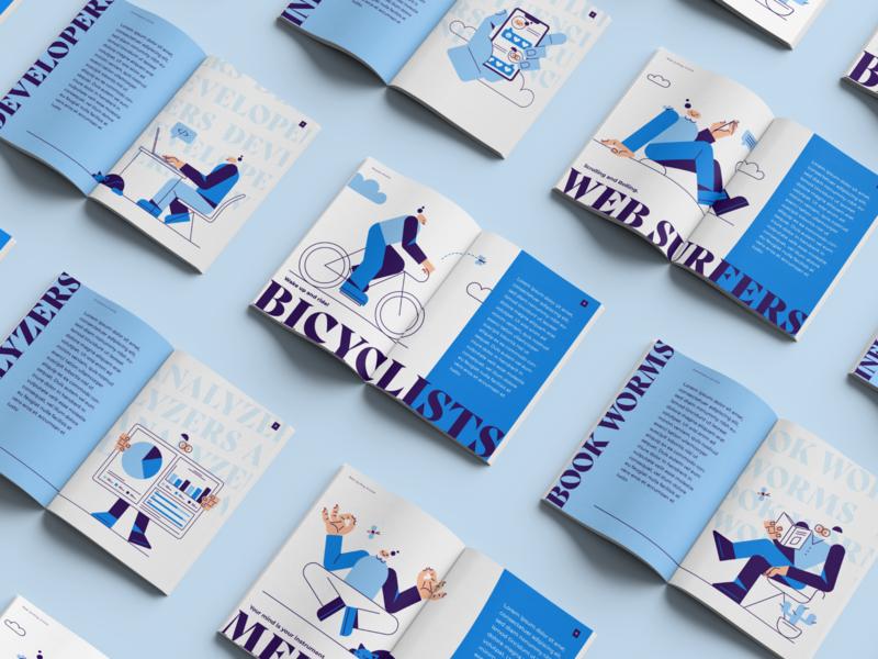 Magazine Layout colorful illustration pack print design vector illustrations illustration art oblik studio oblik graphicdesign layout magazine print illustrator heads poky pokyheads illustrations