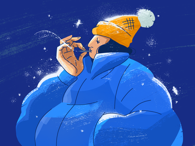 Winter Smoke night hat graphic design girl design cigarette art cold holiday winter smoking texture photoshop digital painting digital illustration illustration drawing