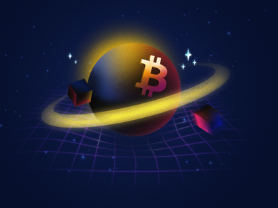 Earn X3 in BTC - Sci-Fi Theme earn cryptocurrency btc bitcoin planets cosmos space crypto wallet crypto design photoshop illustration oblik oblik studio