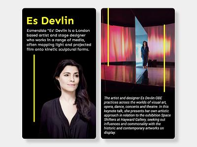 ArtSpace - Es Devlin Profile's ui minimal design cards app ios design ui design