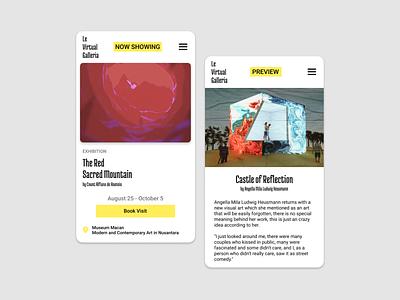 Le Virtual Galleria - UI Concept ios design digitalart minimal design app ui designs ui cards ui design
