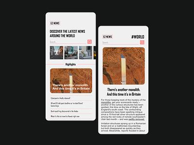 EZ NEWS branding ui design minimal app cards ios design ui design