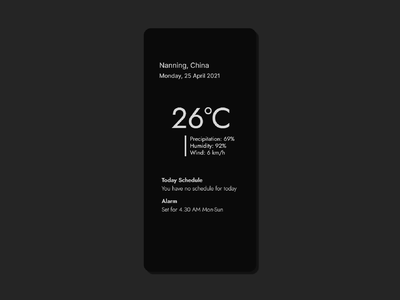 Minimalist Weather, Schedule & Alarm App - Concept ios ui design minimal app cards ios design ui design