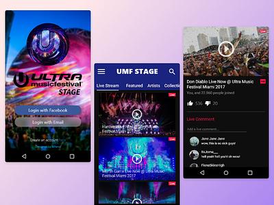 UMF Stage - App concept streaming festivals gradients app design ui design