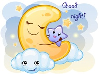 Cute Cartoon Crescent With Clouds. Vector Illustration Is Suitab