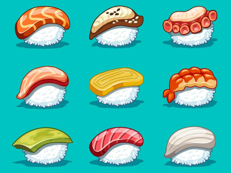 Vector kawaii set japanese food kawaii japanese food sushi set design art icon cg cartoon digital art vector illustration