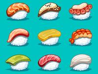 Vector kawaii set japanese food
