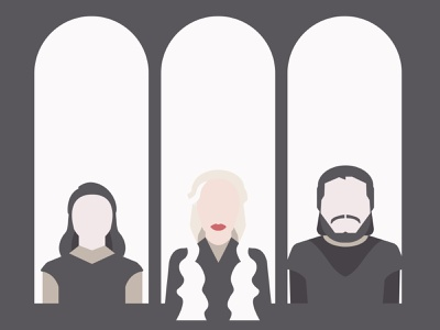 Game of Thrones | Tribute Triptych vector illustration khaleesi jon snow arya stark daenerys targaryen game of thrones