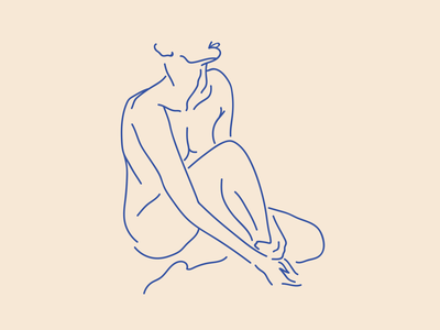 S E A T E D . N U D E ▫️ blue nude illustraion vector digital art line art figure studies bather series bather