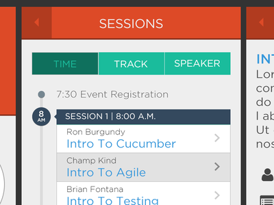 Event App Flow mobile flat ui event list timeline rating feedback