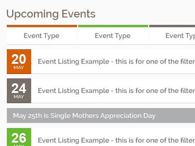 Upcoming Events Web Part event list dates tabs holidays calendar ui