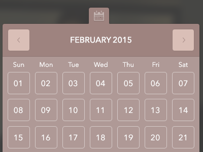 UI Flyout Elements menu calendar flyout mauve